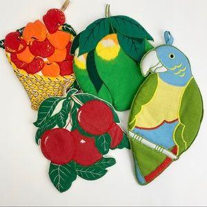 Vintage Fruit and Parrot Pot Holders Bundle of 4